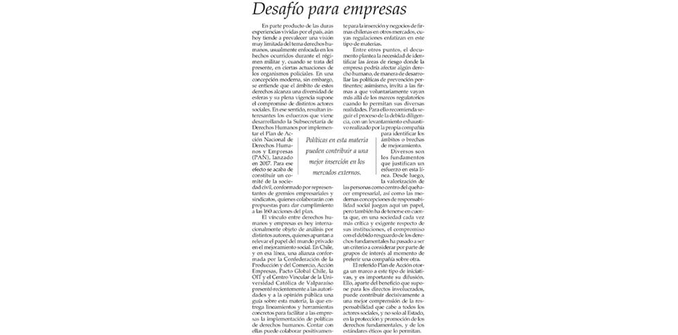 Conoce la columna publicada esta semana en El Mercurio, relacionada a la Guía de Empresas y Derechos Humanos